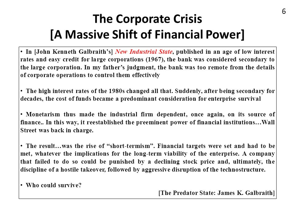 The Corporate Crisis [A Massive Shift of Financial Power]